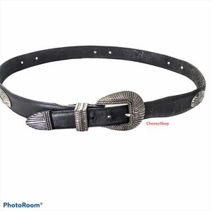 ONYX Brighton Distressed Concho Black Leather Belt